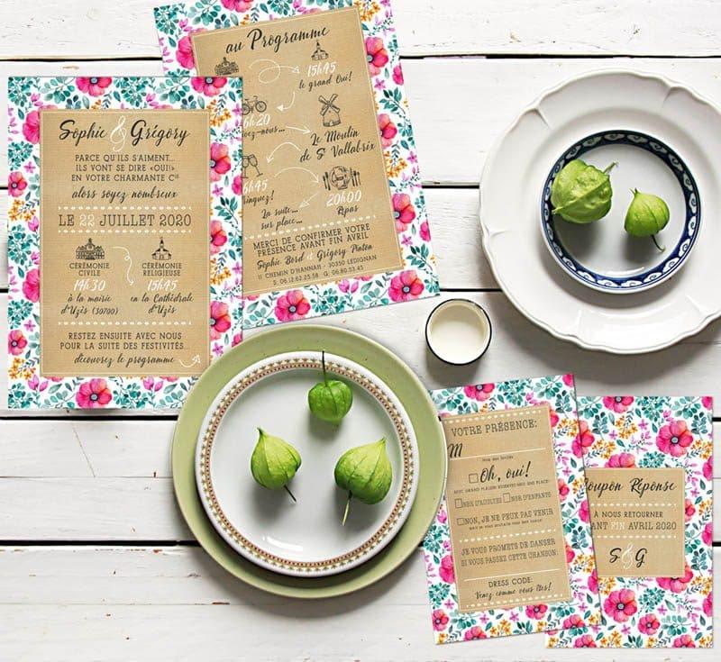 faire-part mariage liberty fleurs eucalyptus programme original sur kraft chic