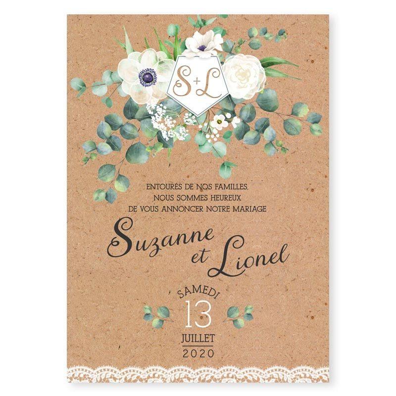 faire-part mariage vegetal eucalyptus anemone fleurs dentelle kraft chic