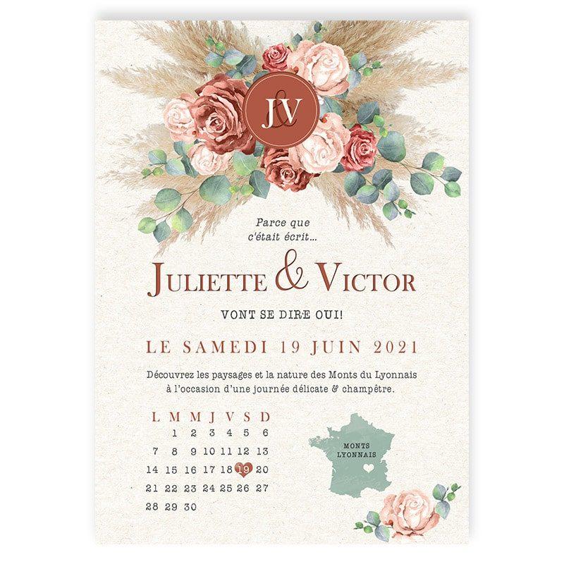 Faire-part mariage terracotta fleurs roses pampa eucalyptus chic champetre