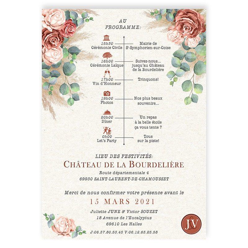 Faire-part mariage terracotta fleurs roses pampa eucalyptus chic programme personnalise
