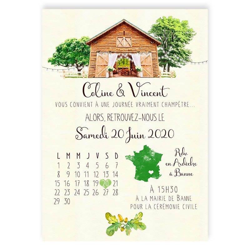 faire-part mariage campagne grange bois et guirlandes champetre