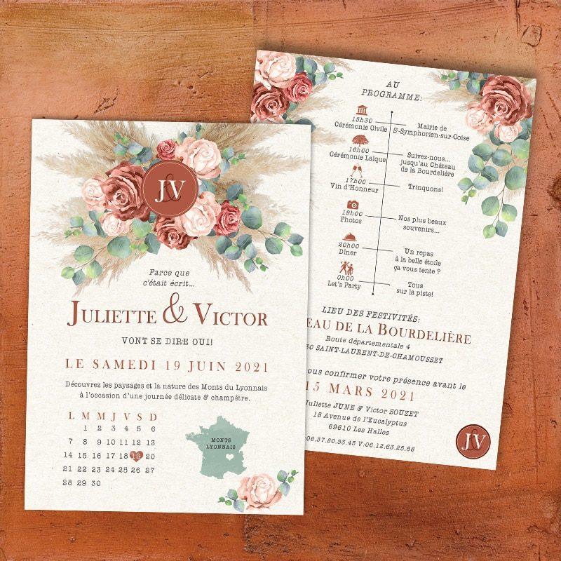 faire-part mariage terracotta fleurs roses eucalyptus pampa champetre chic