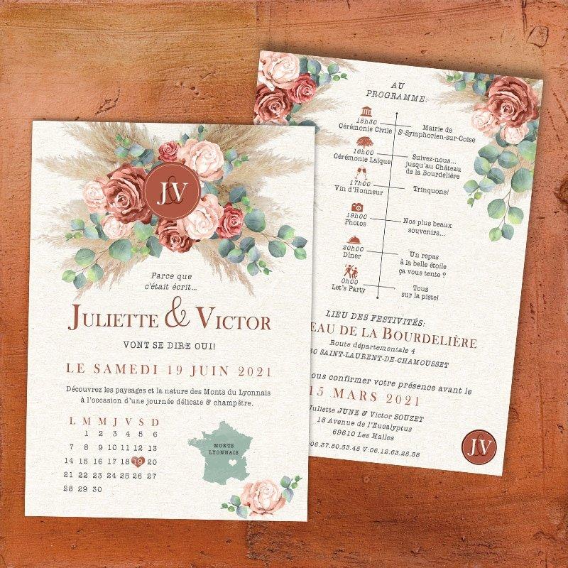 Faire Part Mariage Terracotta Roses Eucalyptus Et Pampa Chic