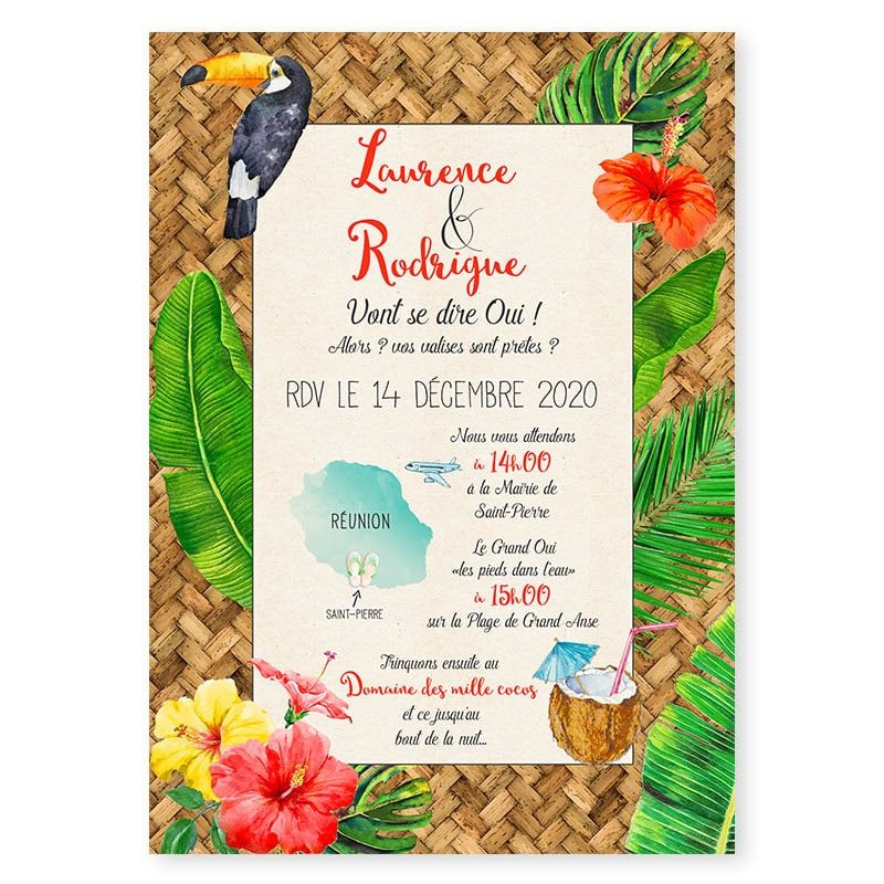 faire-part mariage tropical bananier monstera hibiscus toucan cocktail iles voyages