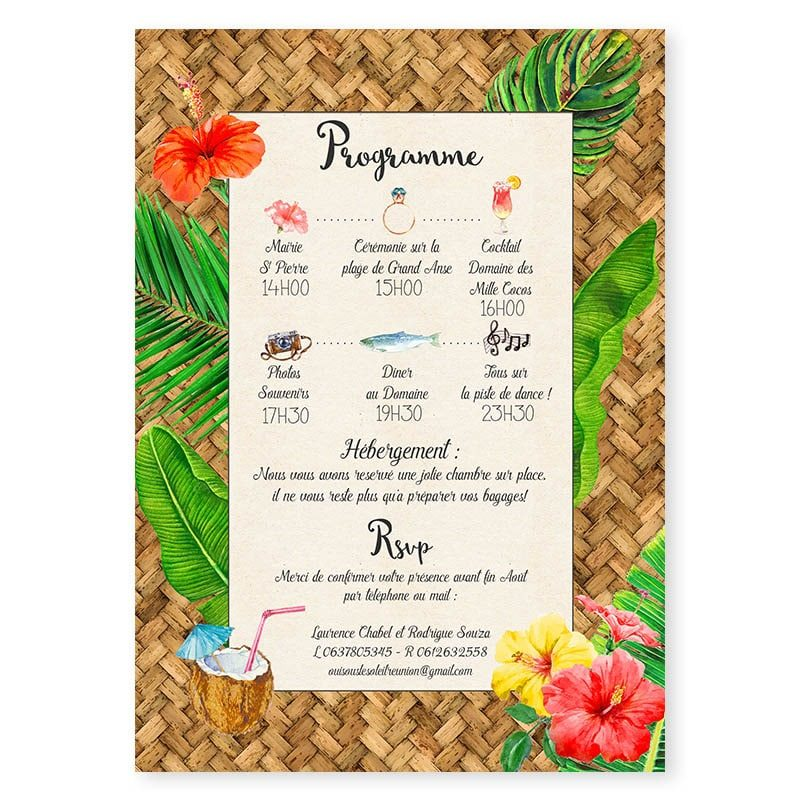 faire-part mariage tropical original bananier monstera hibiscus toucan cocktail iles voyages