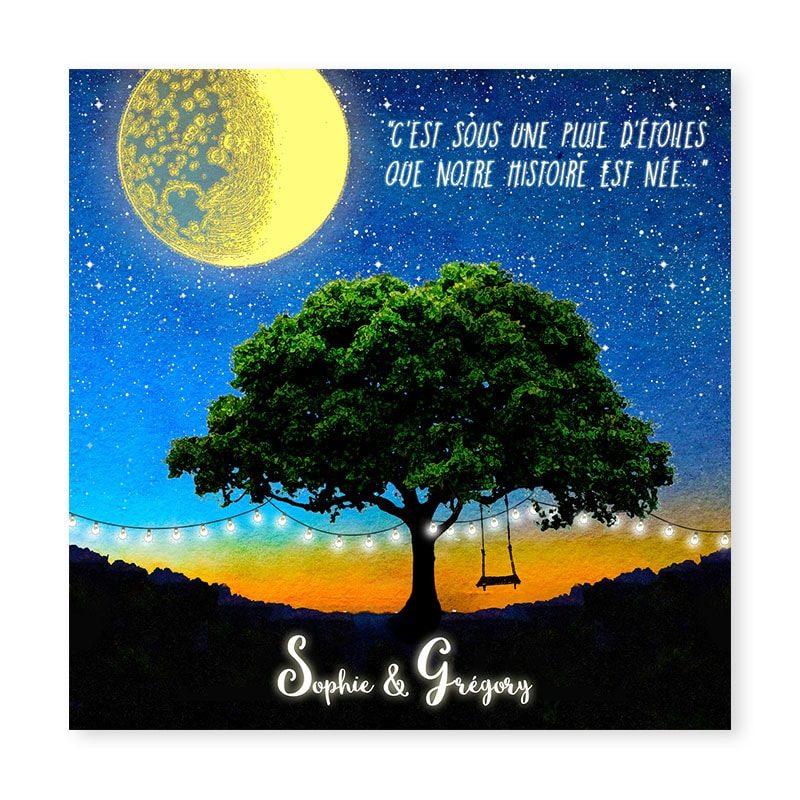 faire-part mariage etoiles nuit nocturne lune arbre original