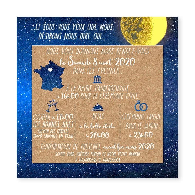 faire-part mariage nuit etoiles lune nocturne creatif original kraft