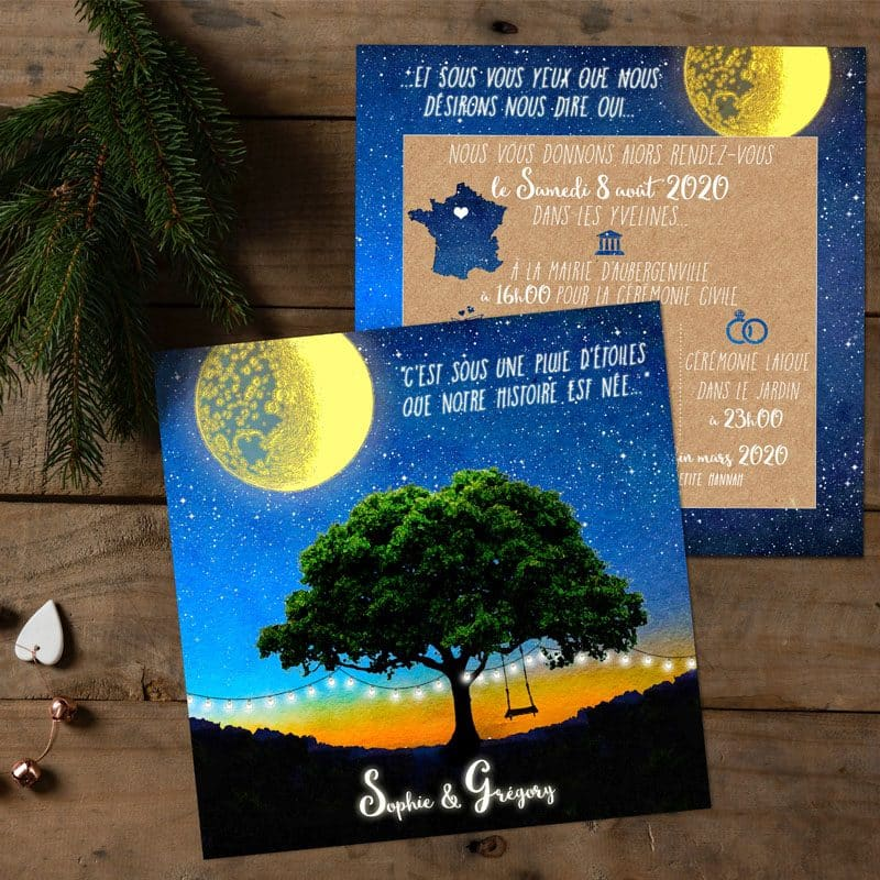invitation mariage etoiles nuit lune romantique creatif kraft