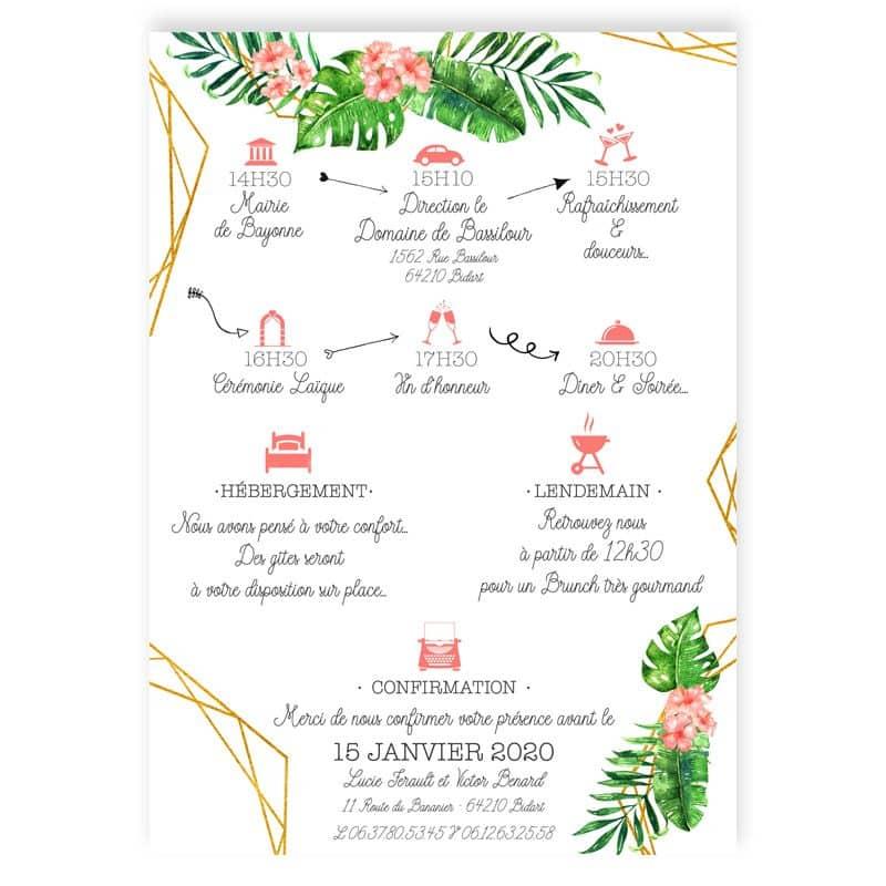 invitation mariage tropical geometrique chic hibiscus fleurs corail exotique vegetal programme