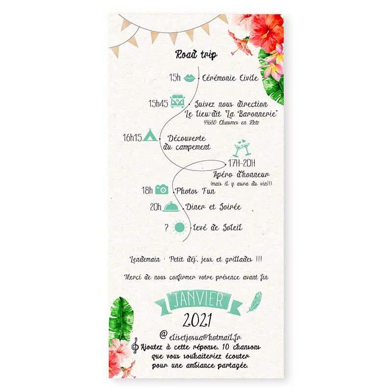 faire-part mariage combi tropical hibiscus fleur monoï tahiti vert eau programme