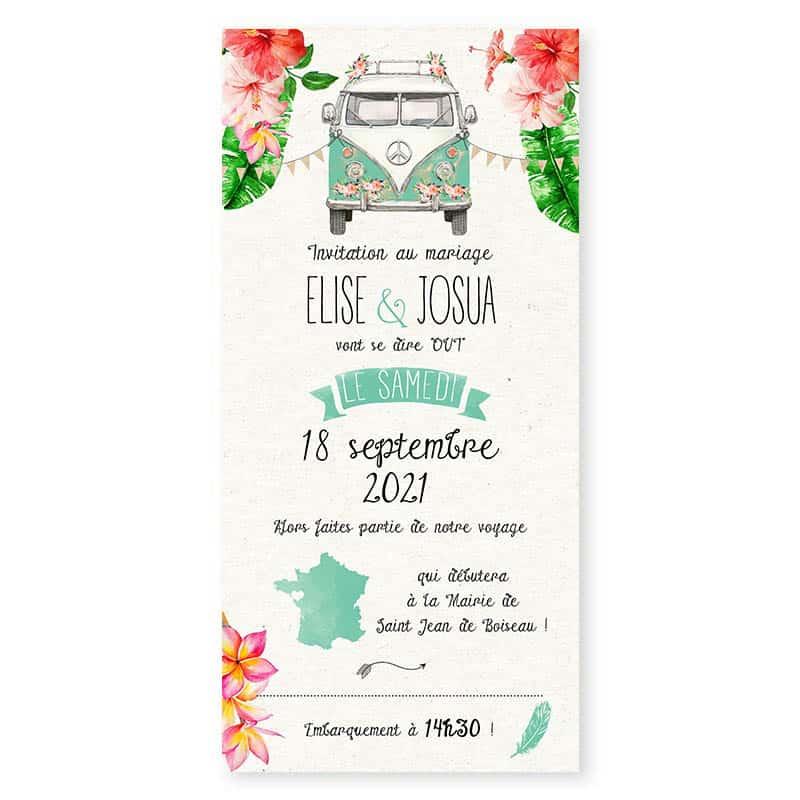 faire-part mariage combi tropical hibiscus fleur monoï tahiti vert eau