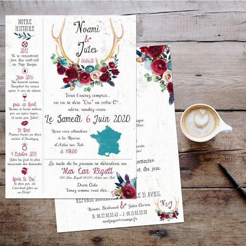 faire-part mariage boho folk bois bleu canard fleurs rouge plumes chic folk