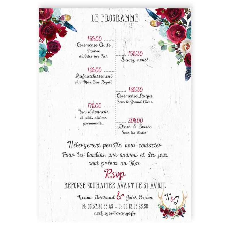 faire-part mariage boho folk bois bleu canard fleurs rouge plumes folk