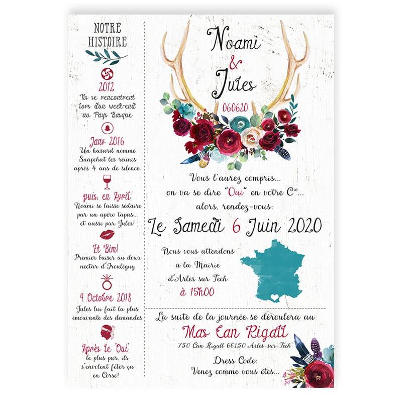 faire-part mariage boho folk bois bleu canard fleurs rouge plumes