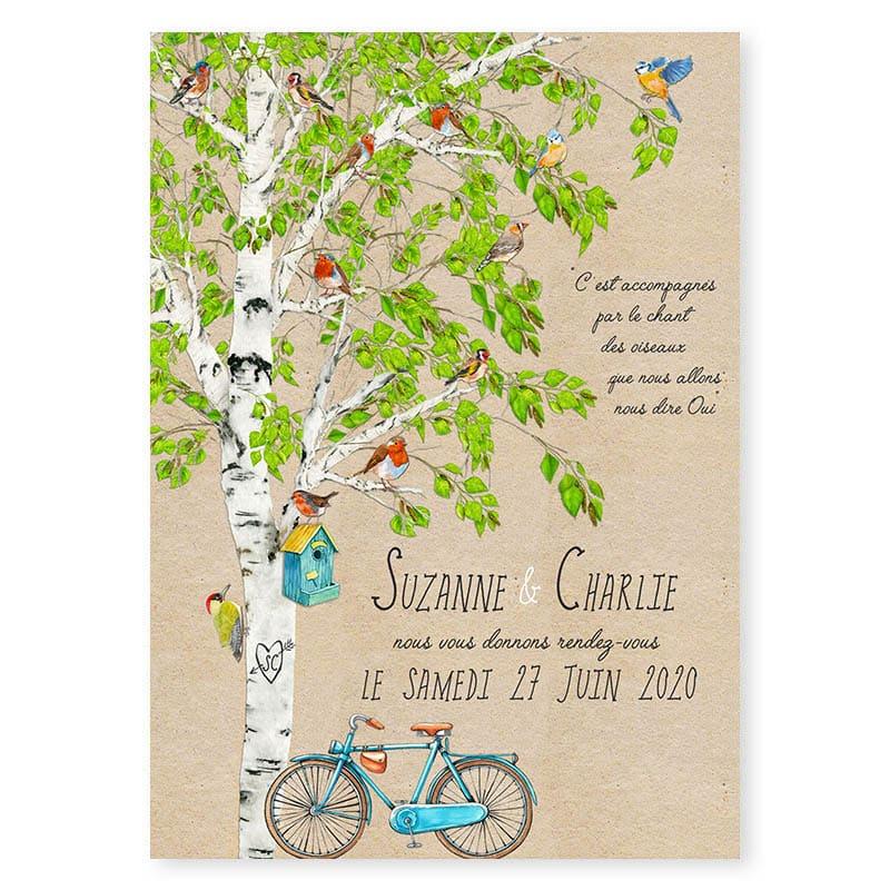 faire-part mariage oiseaux nature romantique arbre velo champetre