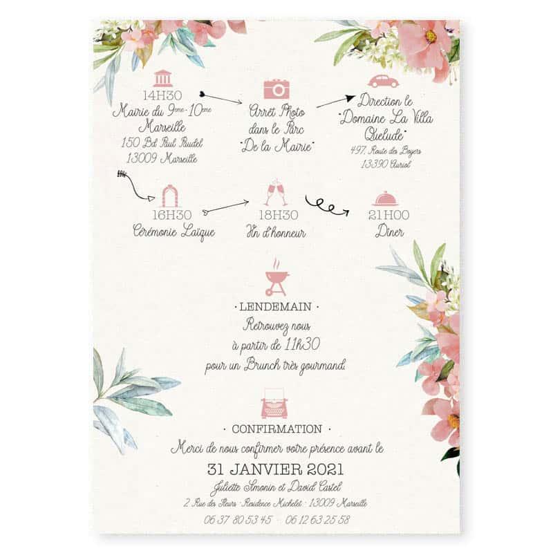 faire-part mariage olivier fleurs cigale provence rose poudre programme