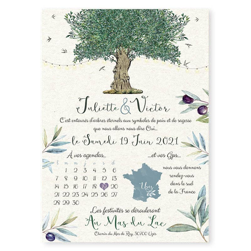 faire-part mariage olivier huile olive chic