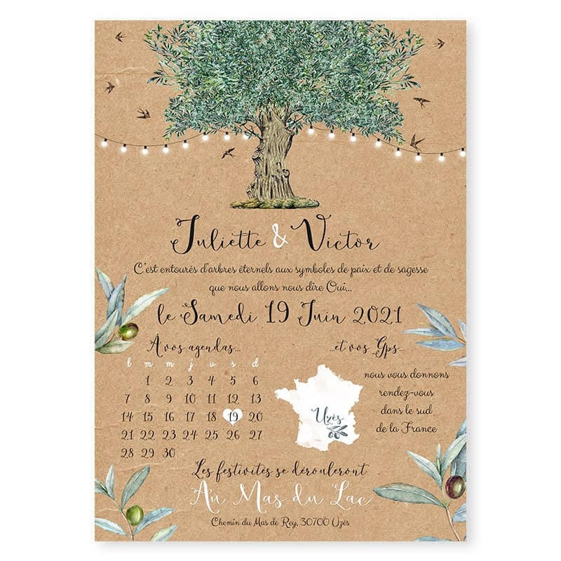 faire-part mariage olivier kraft huile olive nature