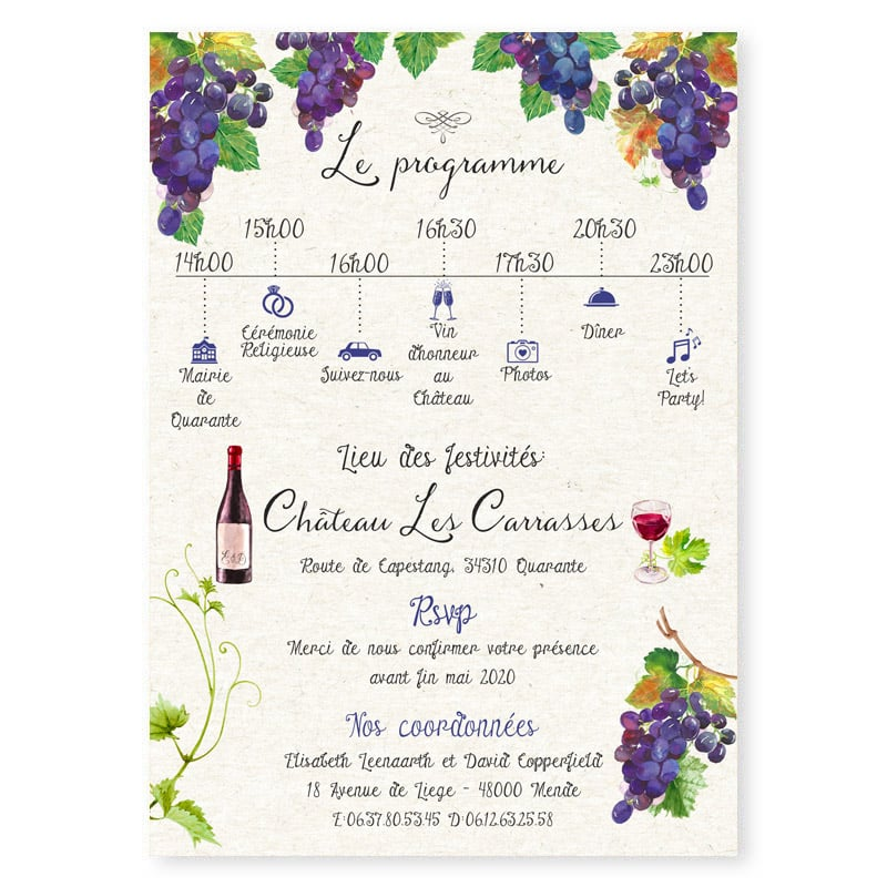 faire-part mariage raisin vigne vin theme vignoble domaine original