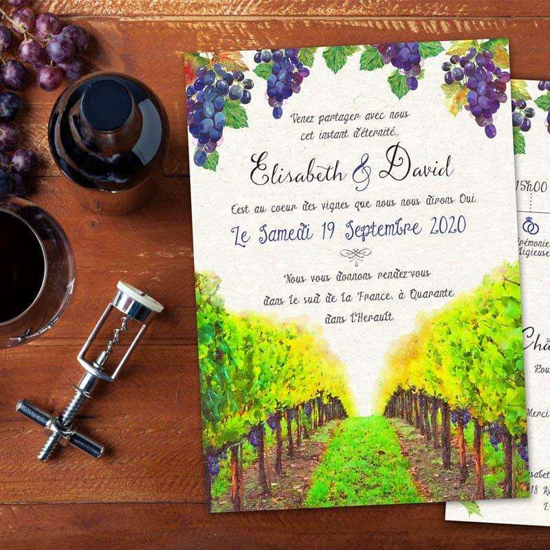 faire-part mariage theme vin viticole vignes champs domaine raisin creatif