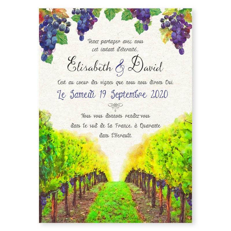 faire-part mariage vin viticole vigne paysage domaine vignoble