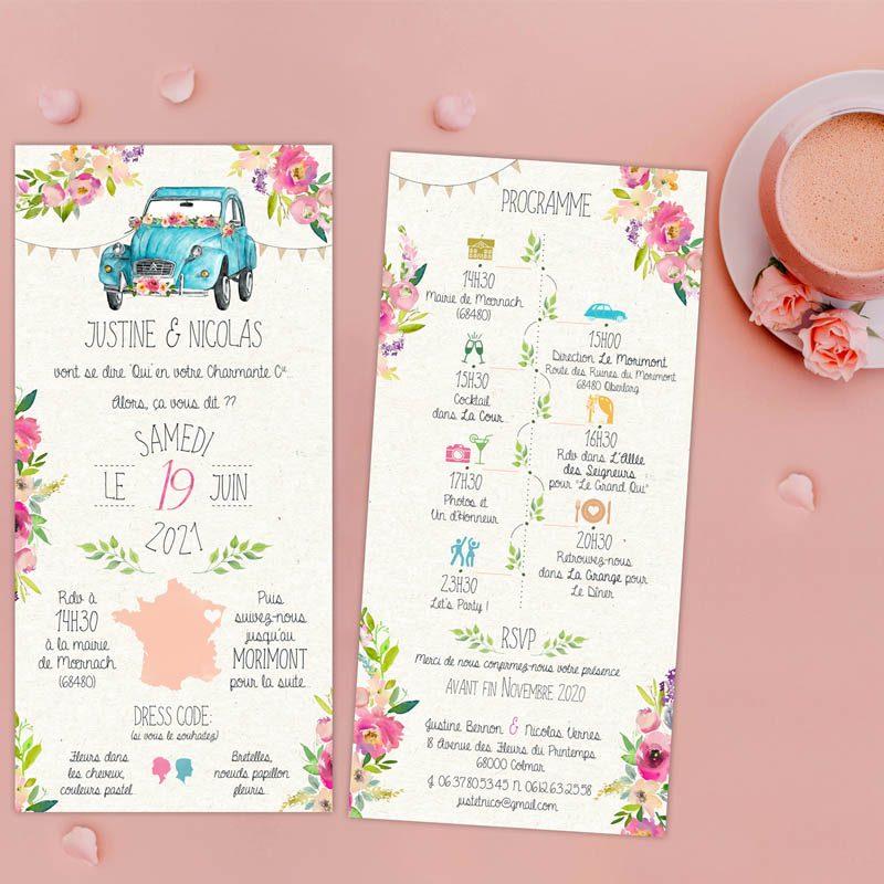 faire-part mariage 2 cv pastel chic fleurs printemps chic original creatif
