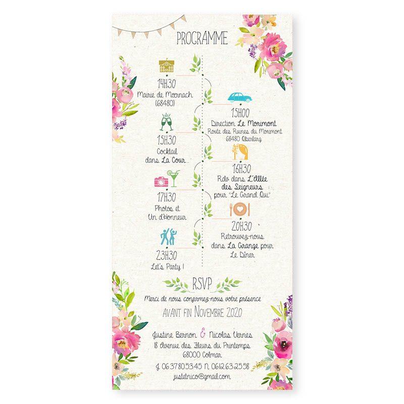 faire-part mariage 2cv Citroen fleurs pastel creatif chic