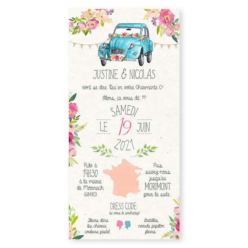 faire-part mariage 2cv Citroen pastel fleurs creatif chic