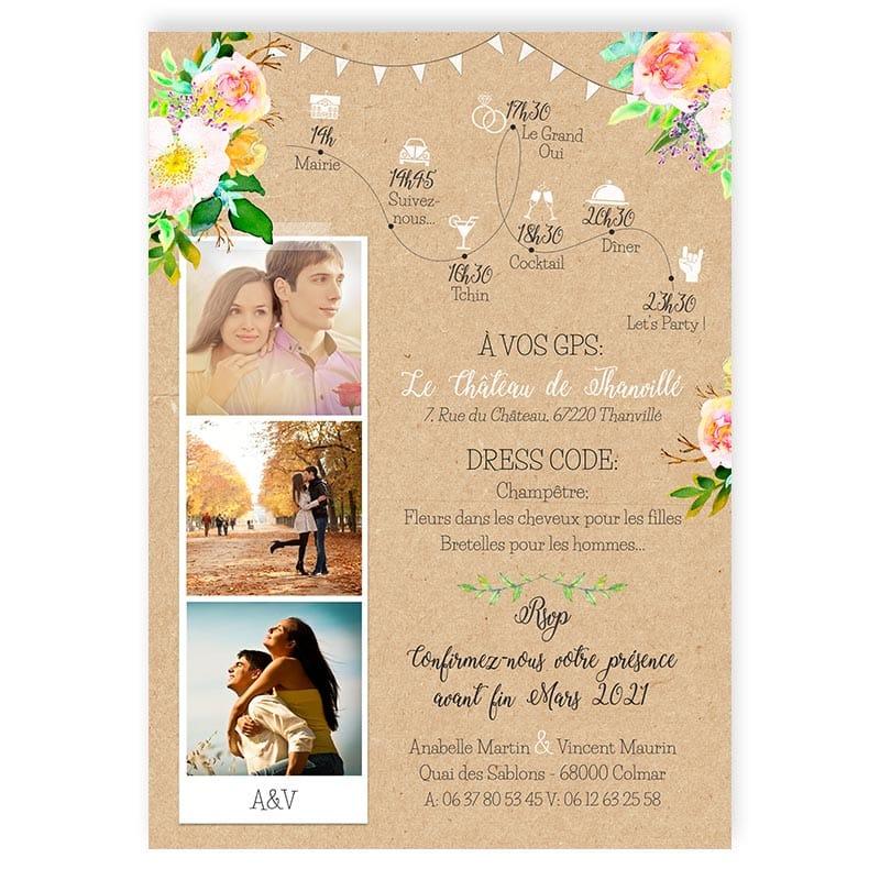 faire-part mariage avec photos voiture vw Coccinelle fleurs pastel fanions turquoise kraft