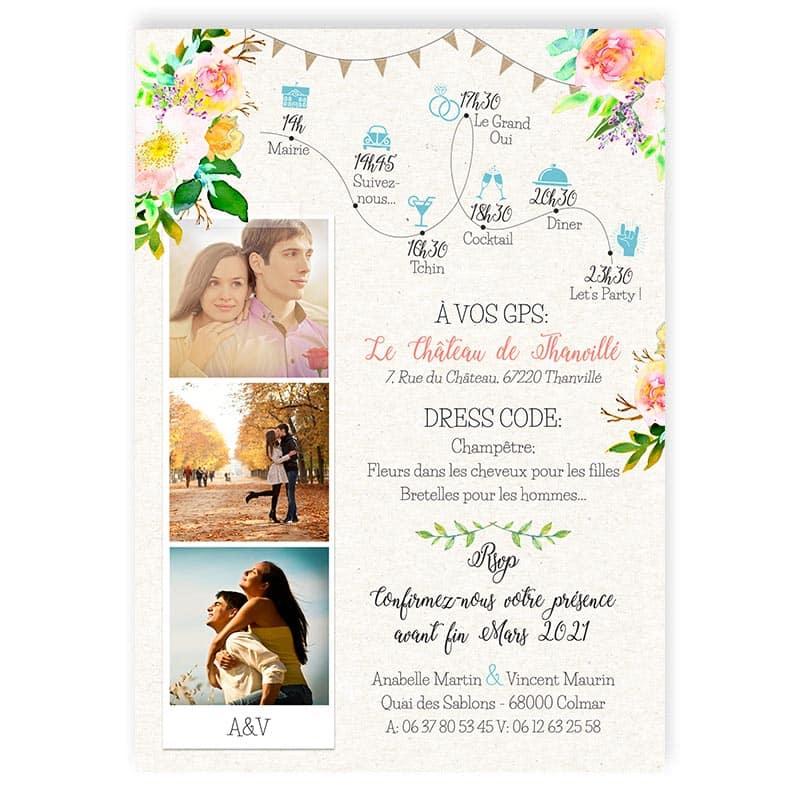 faire-part mariage avec photos voiture vw Coccinelle fleurs pastel fanions turquoise