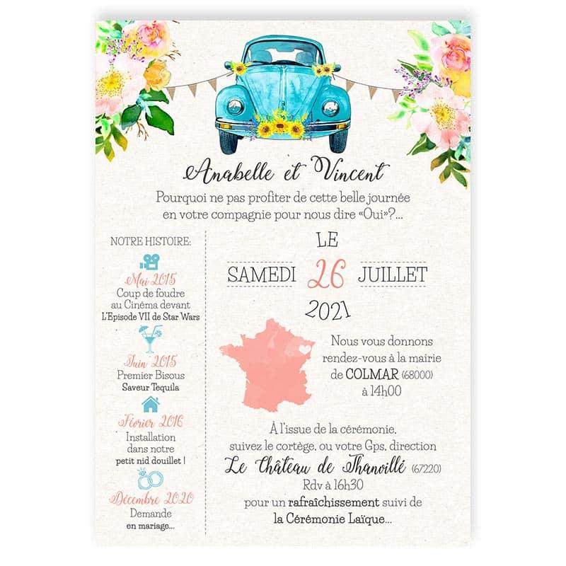 faire-part mariage photos voiture vw Coccinelle fleurs pastel fanions turquoise chic