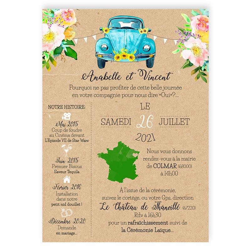 faire-part mariage photos voiture vw Coccinelle fleurs pastel fanions turquoise kraft chic