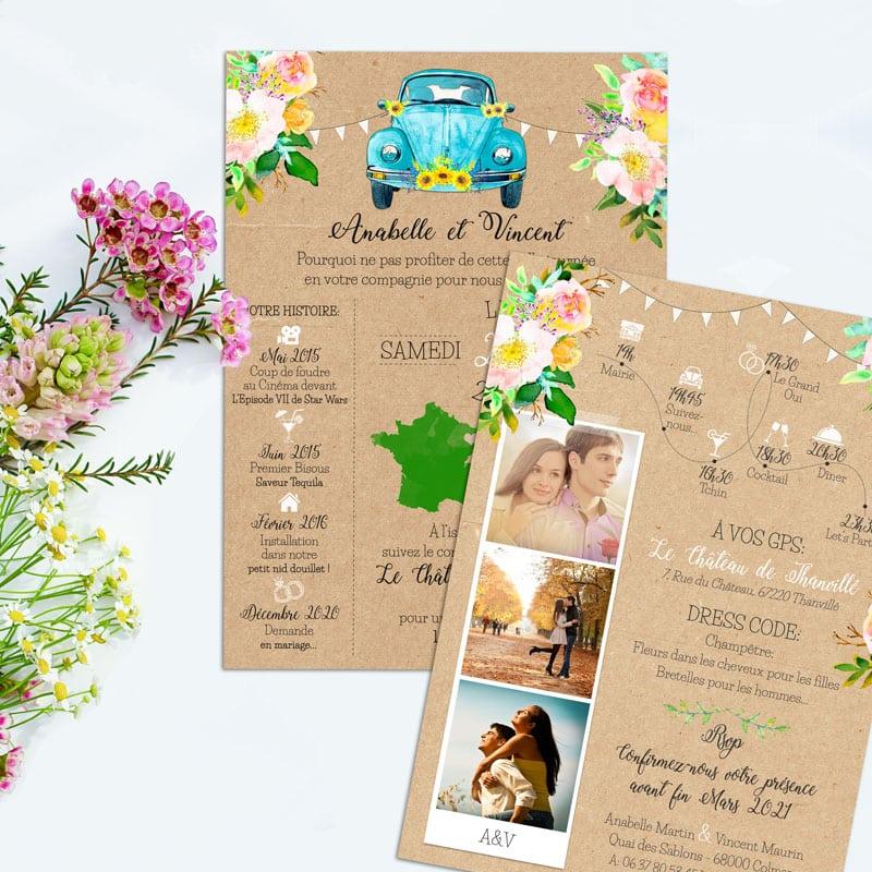 faire-part mariage photos voiture vw Coccinelle fleurs pastel fanions turquoise kraft original