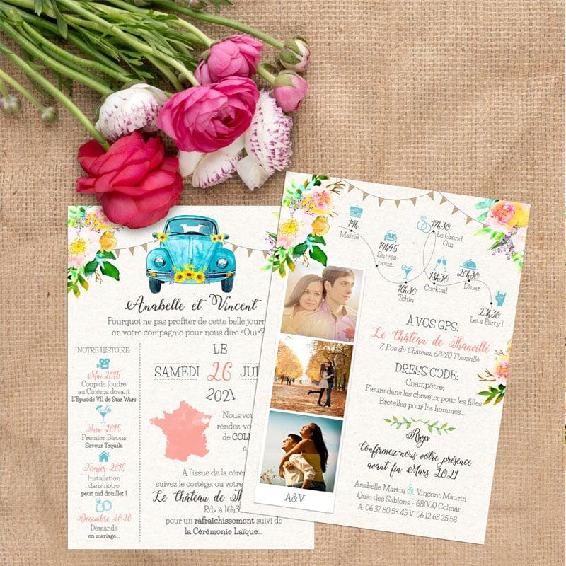 faire-part mariage photos voiture vw Coccinelle fleurs pastel fanions turquoise