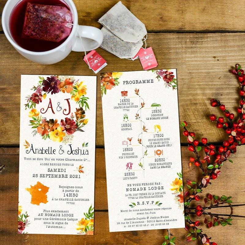Invitation mariage automne couronne de fleurs