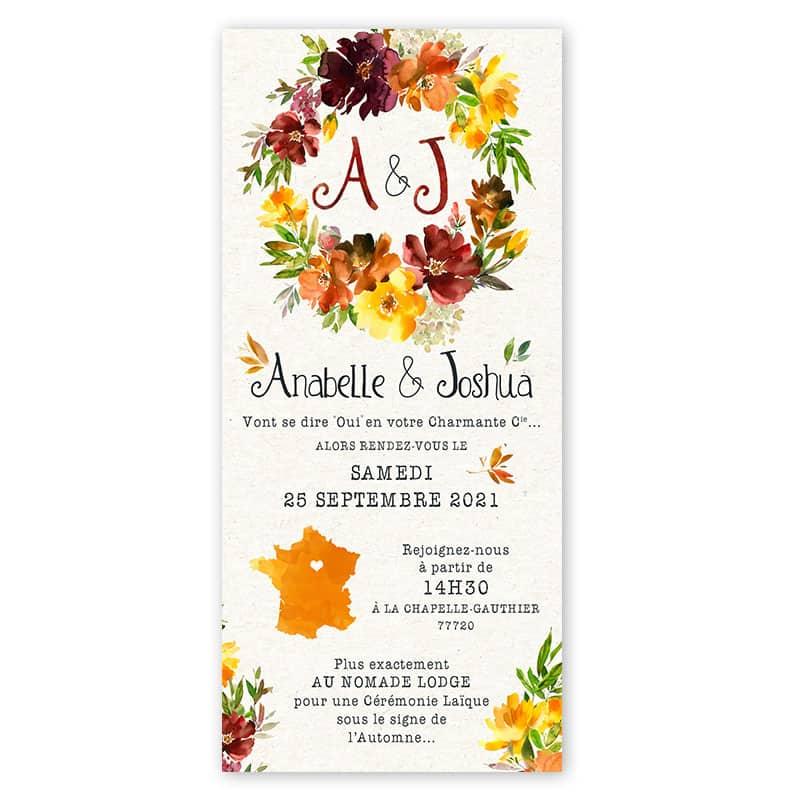 Invitation mariage automne fleurs jaunes bordeaux orange romantique