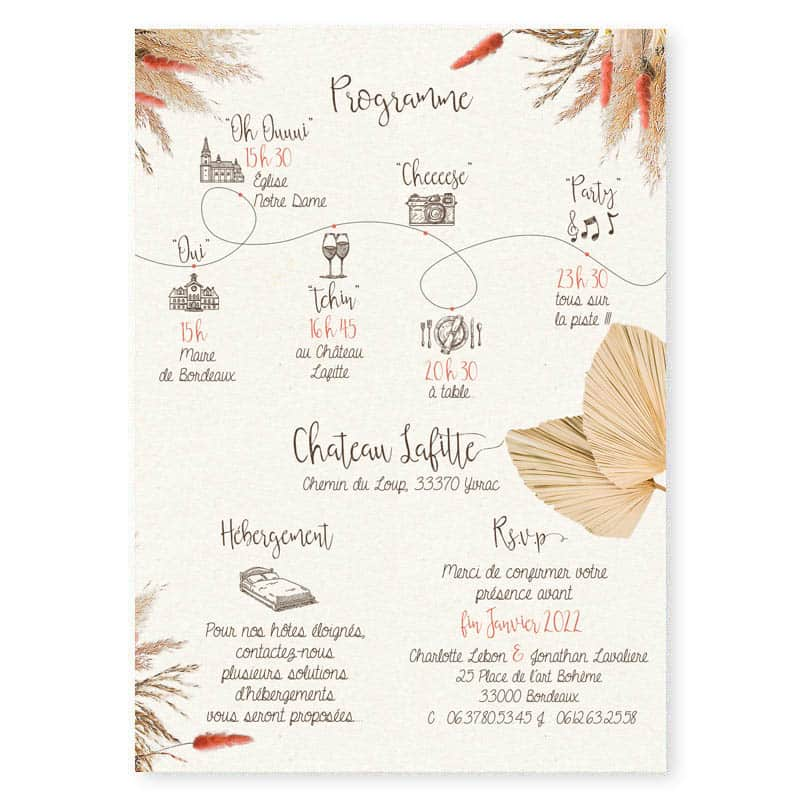 faire-part mariage fleurs sechees boheme chic programme pampa