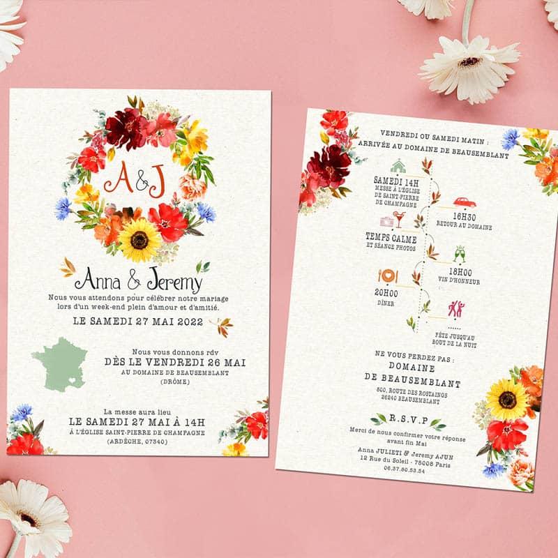 faire-part mariage fleurs rouges eucalyptus tournesol Bleuet programme couronne de fleurs