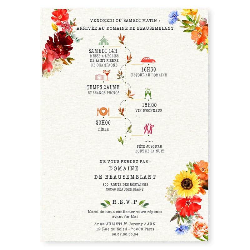 faire-part mariage fleurs rouges eucalyptus tournesol Bleuet programme