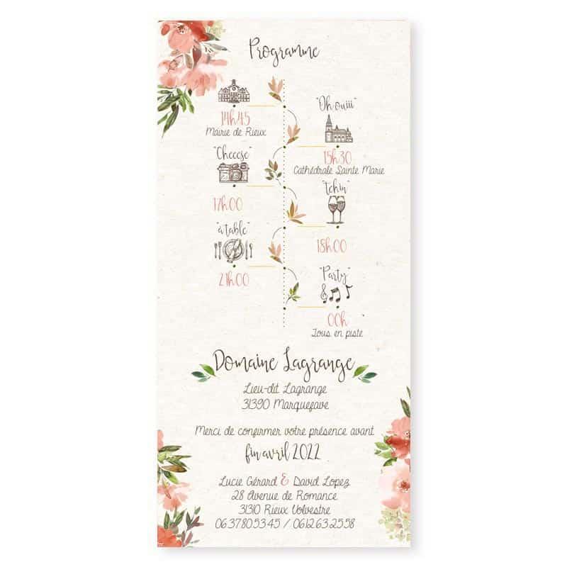 faire-part mariage rose poudre fleur romantique programme personnalise