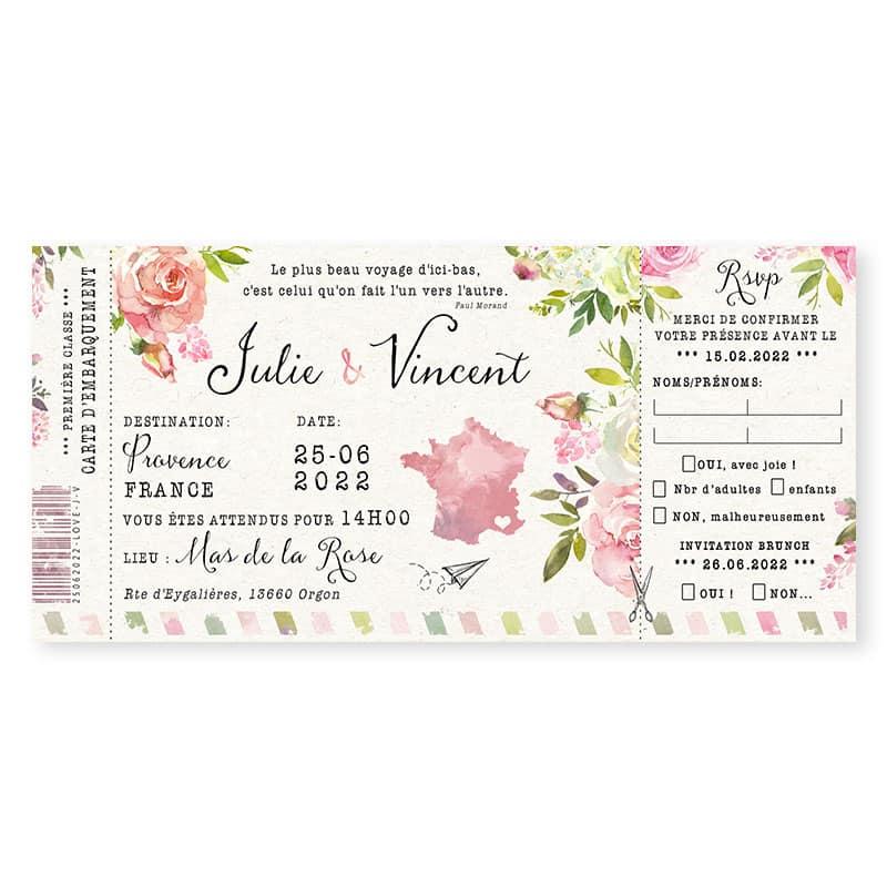 Faire-part mariage carte embarquement fleurs programme rose