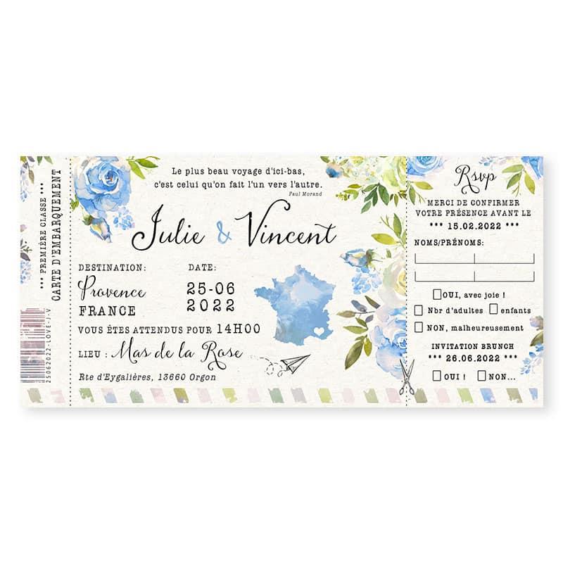 invitation mariage carte embarquement fleurs originale bleu